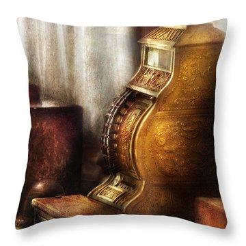 Banker - Brass Cash Register  Throw Pillow by Mike Savad