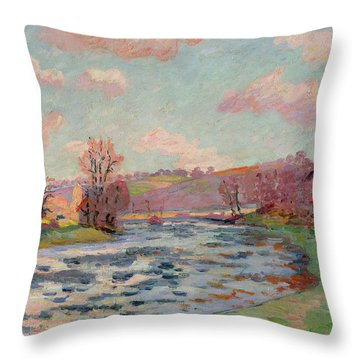 Banks Of The Creuse Throw Pillow by Jean Baptiste Armand Guillaumin