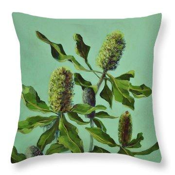 Banksias Australian Flora Painting Throw Pillow
