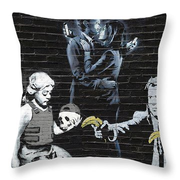 Banksy - Failure To Communicate Throw Pillow by Serge Averbukh