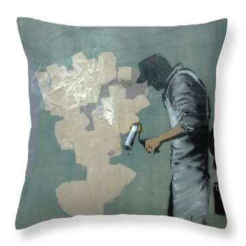 Banksy In New Orleans Throw Pillow