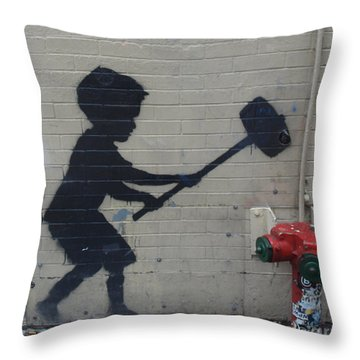 Banksy In New York Throw Pillow