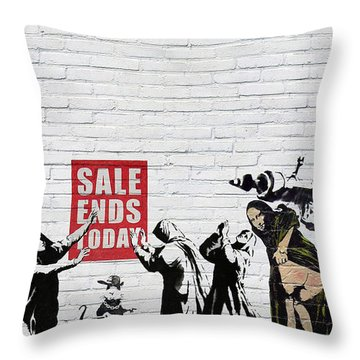 Banksy - Saints And Sinners   Throw Pillow by Serge Averbukh