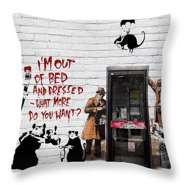 Banksy - The Tribute - Rats Throw Pillow