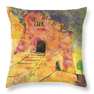 Throw Pillow featuring the painting Banon Village In Provence by Martin Stankewitz