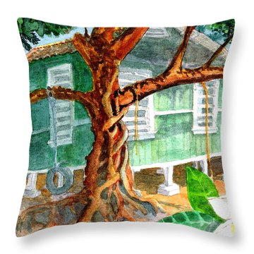 Banyan In The Backyard Throw Pillow