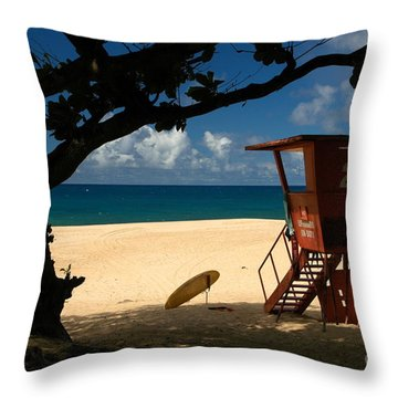Banzai Beach Throw Pillow by Mark Gilman