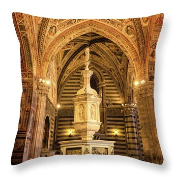 Throw Pillow featuring the photograph Baptistery Siena Italy by Joan Carroll