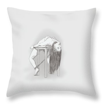 Throw Pillow featuring the mixed media Bar Chair Bw by TortureLord Art