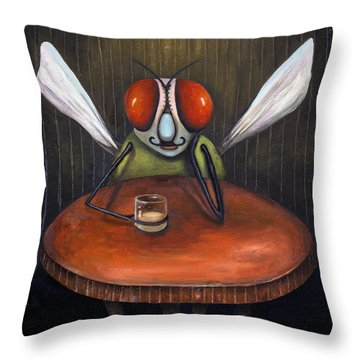 Bar Fly Throw Pillow by Leah Saulnier The Painting Maniac