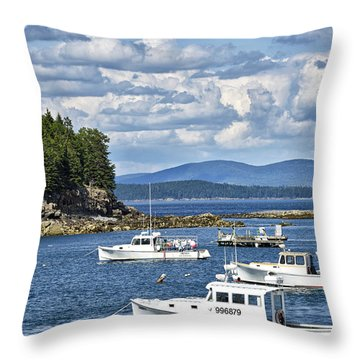 Bar Harbor Lobster Boats - Frenchman Bay Throw Pillow by Brendan Reals
