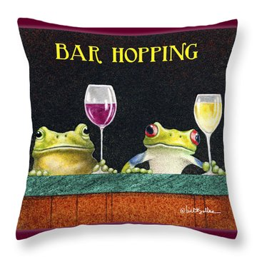 Bar Hopping. Throw Pillow by Will Bullas