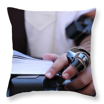 Bar Mitzvah Celebration With Tefillin  Throw Pillow by Yoel Koskas
