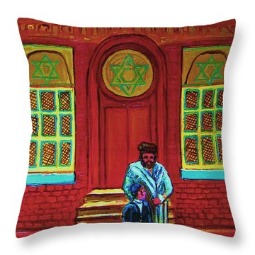 Bar Mitzvah Lesson At The Synagogue Throw Pillow by Carole Spandau