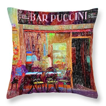 Bar Puccini Lucca Italy Throw Pillow by Wally Hampton
