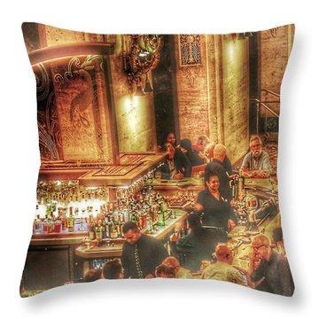 Throw Pillow featuring the photograph Bar Scene by Marianne Dow