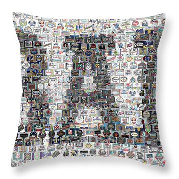 Throw Pillow featuring the mixed media Bar Sign Beer Label Mosaic by Paul Van Scott