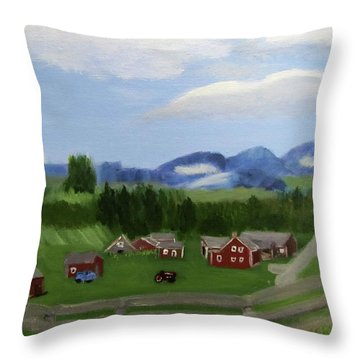 Throw Pillow featuring the painting Bar U Ranch by Linda Feinberg