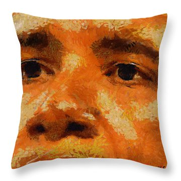 Throw Pillow featuring the painting Barack by Kai Saarto
