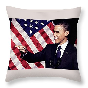 Barack Obama Throw Pillow by Iguanna Espinosa