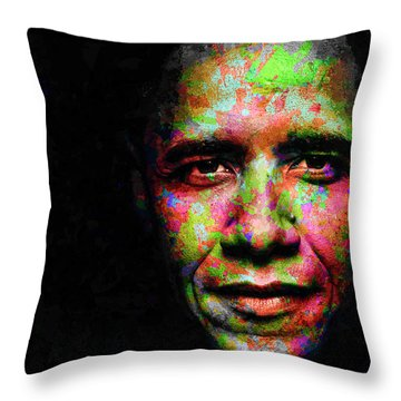 Barack Obama Throw Pillow by Svelby Art