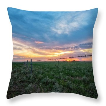 Throw Pillow featuring the photograph Barb Wire by Russell Pugh