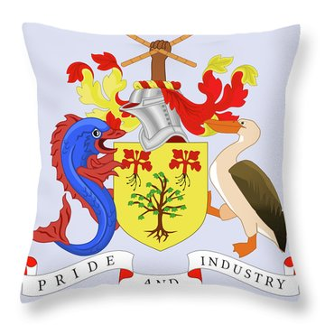 Throw Pillow featuring the drawing Barbados Coat Of Arms by Movie Poster Prints