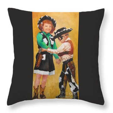 Barbara And Buddy Playing Cowboys Throw Pillow