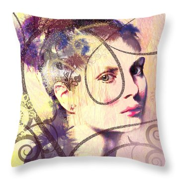 Barbara Blue Throw Pillow by Kim Prowse