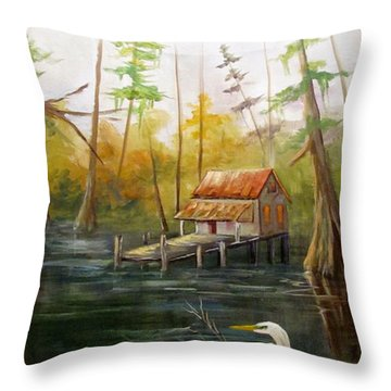 Barbara's Bayou I Throw Pillow