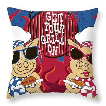 Barbecue Pigs Throw Pillow