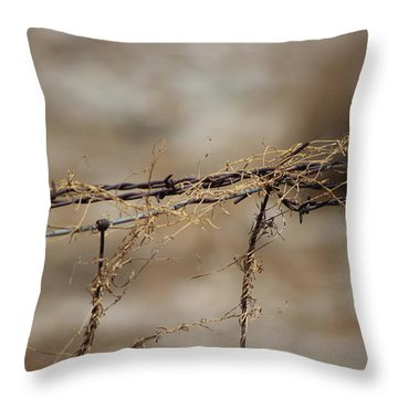 Barbed Wire Entwined With Dried Vine In Autumn Throw Pillow