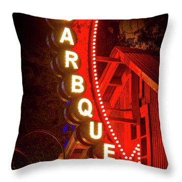 Throw Pillow featuring the photograph Barbeque Smokehouse by Mark Andrew Thomas