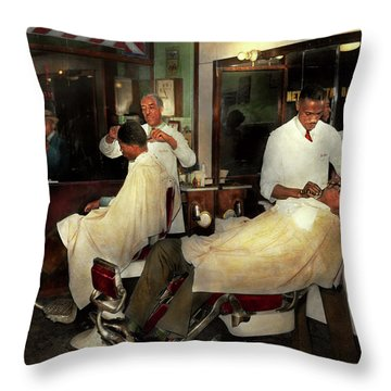 Throw Pillow featuring the photograph Barber - A Time Honored Tradition 1941 by Mike Savad