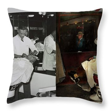Throw Pillow featuring the photograph Barber - A Time Honored Tradition 1941 - Side By Side by Mike Savad