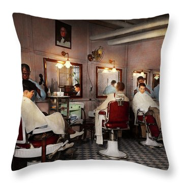Throw Pillow featuring the photograph Barber - Senators-only Barbershop 1937 by Mike Savad