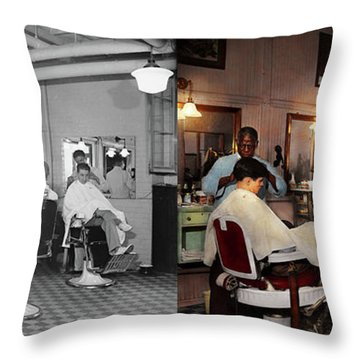 Throw Pillow featuring the photograph Barber - Senators-only Barbershop 1937 - Side By Side by Mike Savad