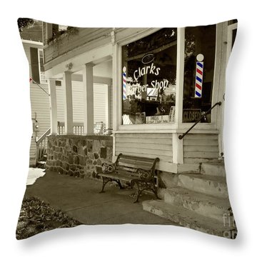 Clarks Barber Shop With Color Throw Pillow