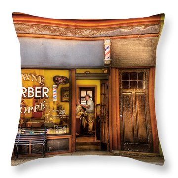 Barber - Towne Barber Shop Throw Pillow