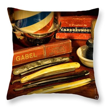 Barber - Vintage Barber Throw Pillow by Paul Ward