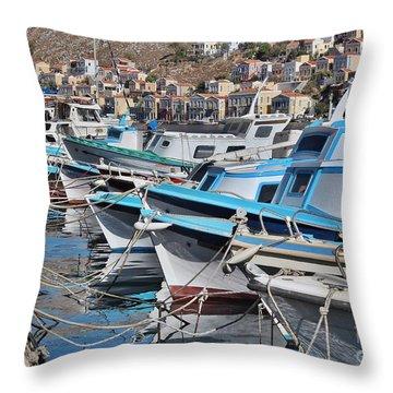 Harbour Of Simi Throw Pillow
