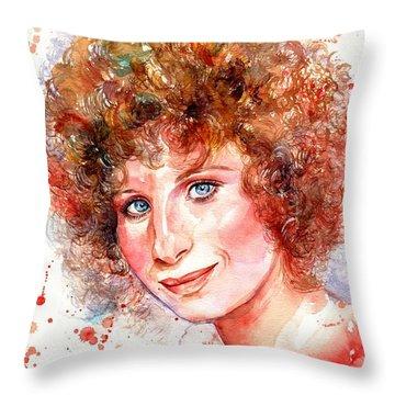 Barbra Streisand Portrait Throw Pillow