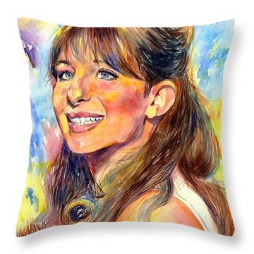 Barbra Streisand Young Portrait Throw Pillow