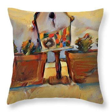 Barb's Bird House Throw Pillow
