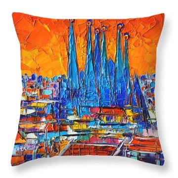 Barcelona Abstract Cityscape 7 - Sagrada Familia Throw Pillow