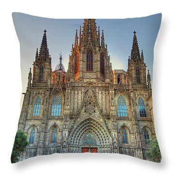 Barcelona Cathedral Throw Pillow