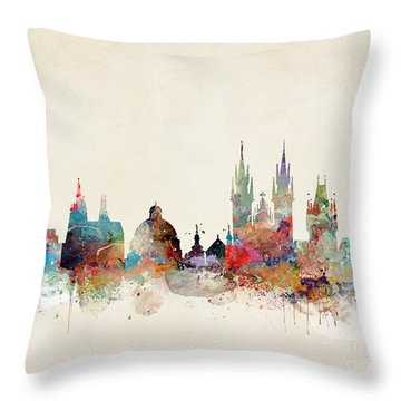 Throw Pillow featuring the painting Barcelona City Skyline by Bri B
