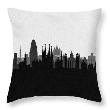 Barcelona Cityscape Art Throw Pillow