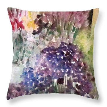 Barcelona Flower Mart Throw Pillow