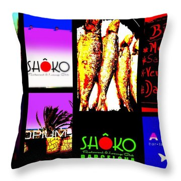 Barcelona Funky Food Joints  Throw Pillow by Funkpix Photo Hunter